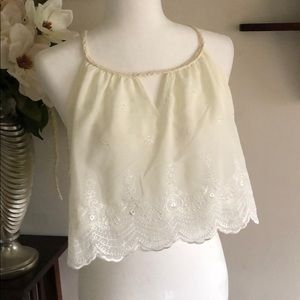Tobi ~~Crop toP~~ Embroidered, Brand New! Size XS